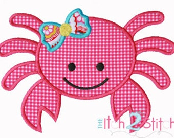 Girly Crab Applique Design (font NOT included) In Hoop Sizes 4x4, 5x7, and 6x10 INSTANT DOWNLOAD now available