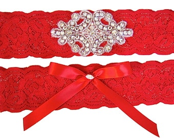 Classic Red Stretch Lace Wedding Garter Set with Sparkling Crystals