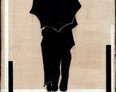 Original Painting vintage silhouette man and woman umbrella canvas