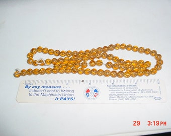 24 Inch Strand 8 mm or 3/8 Inch Amber or Gold Glass Ball Beads
