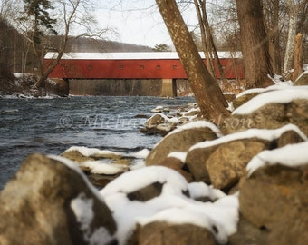 Cornwall Connecticut Red Covered Bridge in Winter Photograph Print 8x10