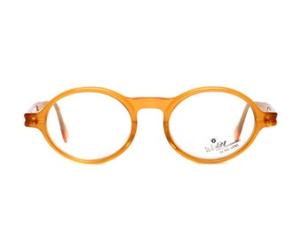 orange brown vintage eyeglasses - 40s style oval / round glasses - barniz / amarillo