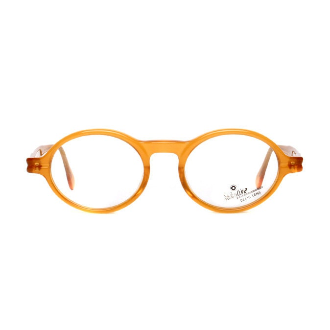 orange brown vintage eyeglasses 40s style oval