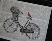 BOGO SALE Bicycle Basket Cardinal Print Upcycled Book Art Print Bird and Bicycle on Vintage Dictionary Book Page HHP Original