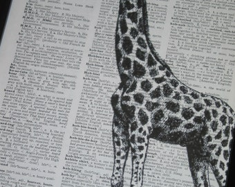 BOGO 1/2 OFF Sale Dictionary Art Print Giraffe Art Print BookPrint  Dictionary Art Dictionary Print The Giraffe