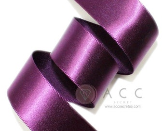 Grape Single Faced Satin Ribbon - 5mm(2/8''), 10mm(3/8''), 15mm(5/8''), 25mm(1''), 40mm(1 1/2''), and 50mm(2'')