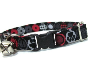 Cat Collar- Red and Black Paw Print Houndstooth