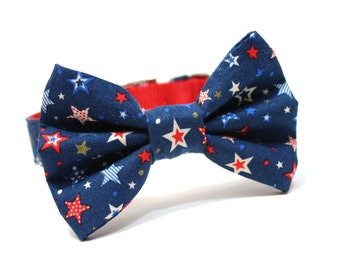 Bow Tie Dog Collar- Navy Blue and Red Shooting Stars