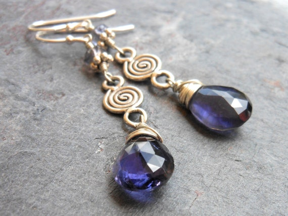 Iolite Earrings Sterling Silver Blue Dangling Gemstone Earrings - Indigo Swirl