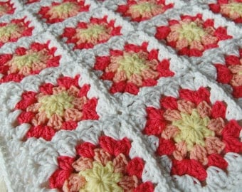 READY TO SHIP Yellow, Peach and Coral Granny Square Baby Afghan - Baby Shower Gift - Sweet and Sunny