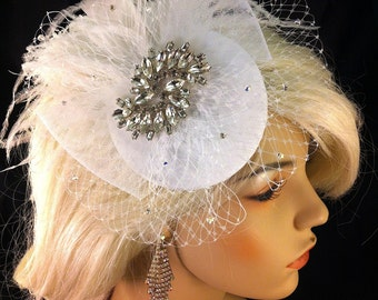 Birdcage Veil, Bridal Hat, White, Feather Fascinator, Wedding Head Piece, Veil, Swarovski Crystals and Rhinestones - White Dupioni Silk