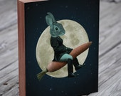 Rabbit Riding a Carrot Rocket  - Moon Art - Space Art - Wood Block Print