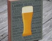 Beer Print - Types of Beer - Wood Block Art Print - Kitchen Art - Bar Art Print - Bar Art - Beer Art Print