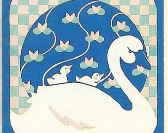 Vintage 80's Illuminations Swan Sticker
