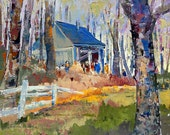 Cabin in the forest - Original Canadian oil painting by Shirley Levie, 12'' X 16'' impressionist painting for your home decor