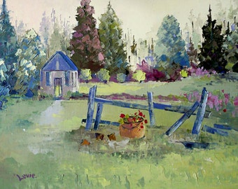 Oil painting, summer painting, Quebec scenery, Canadian painting, country landscape, modern art, wall decor, Original art,