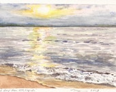 """East Bay from Elk Rapids a 5""""x7"""" print of a watercolor, printed on 8""""x10"""" paper"""