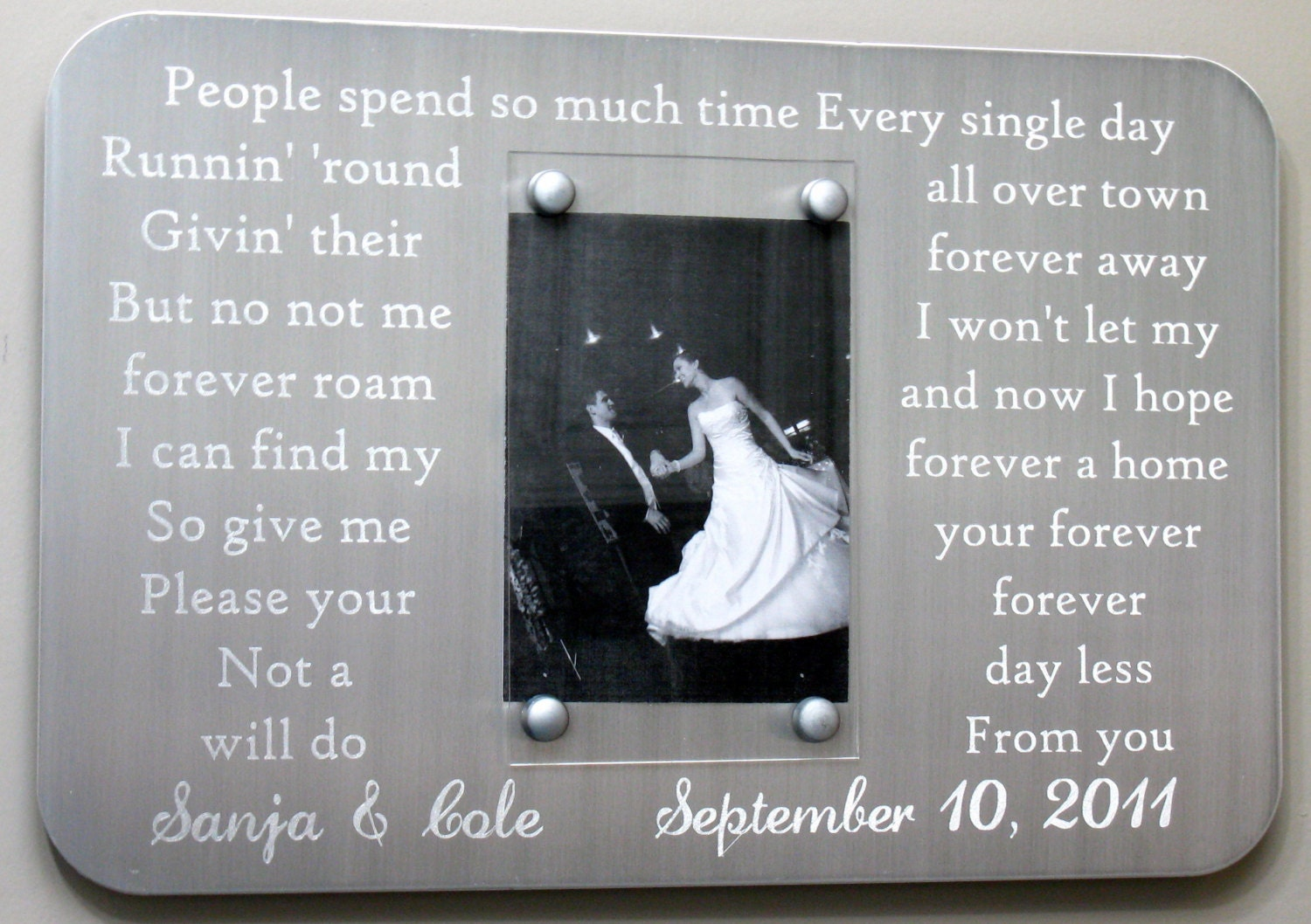 Engraved vows metal picture frame with your own song lyrics 15000 jeuxipadfo Gallery