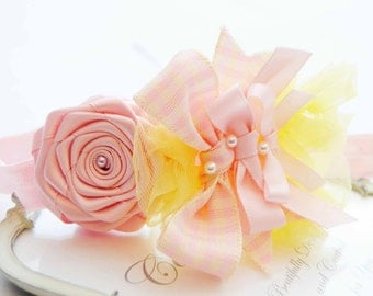 Baby Headband Girls Headband Chic Vintage Pink and Yellow Chiffon Posh with Bows
