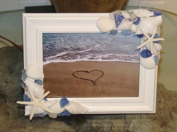 Items Similar To Beach Decor Seaglass And Shell Frame