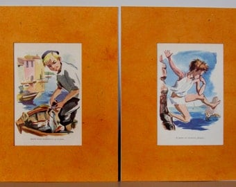 "SALE 8"" x 10"" Ready to frame / Set of 2 beautiful mated illustrations dated 1960's / Unique kid room decor / holidays walldecor"