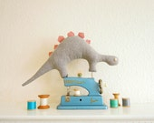 Grey & Dusky Pink Dinosaur Plush Toy