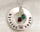 Hand Stamped Mommy Necklace - Eternity Circle with Butterfly - Personalize with Kid's Names and  Birth Crystals -  Jewelry for Mom / Mother