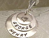 Personalized Mother's Necklace with Two to Three Kids Names Engraved - Hand Stamped Stacked Discs - Jewelry for Mom - Gift for Wife