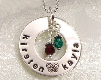 Hand Stamped Mommy Name Necklace - Eternity Circle - Personalize with Kid's Names and  Birth Crystals -  Mother's Day Jewelry