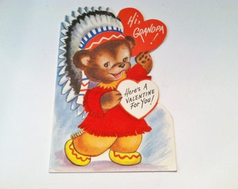 Vintage Valentine 1970- greeting card- felted bear with indian headdress- grandpa