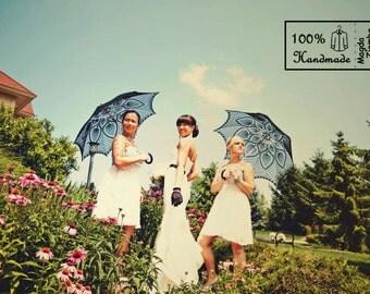 "46"" Wedding Black Lace Crochet UMBRELLA PARASOL, Halloween Wedding, Party Favor, Fall- Ready to Ship"