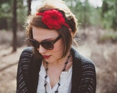 Red Flower Headband, Crocheted rose flower, red rose band
