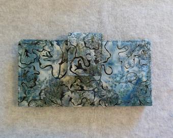 Fabric Wallet - Blue Gray Batik