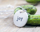 joy word charm sterling silver necklace matte finish