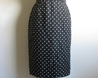 Vintage 1980s Valentino Skirt Designer 80s Black Cream Polka Dot Pencil Straight Skirt 10