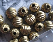 Vintage Brass Beads, 1970s Small Round Hollow Ribbed/Corrugated Spacers, Old Stock, Unplated, 6x5mm, 8 pieces