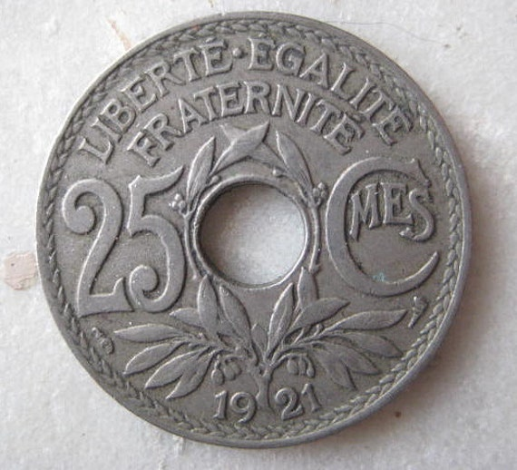 1921 France 25 Centime Coin With Center Hole