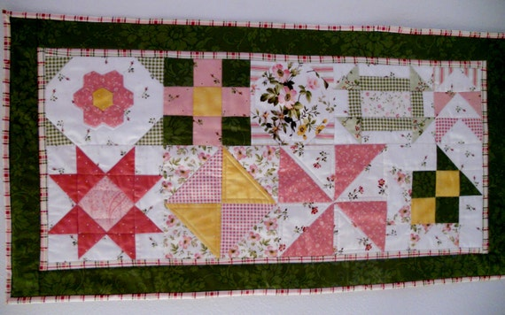 Spring Easter Quilted Table Runner Wall Hanging  Applique Cottage Chic