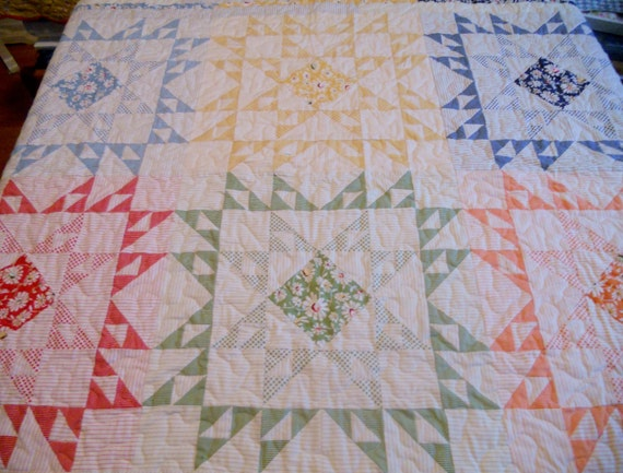 Patchwork Stars Lap Quilt Sofa Throw Vintage Theme