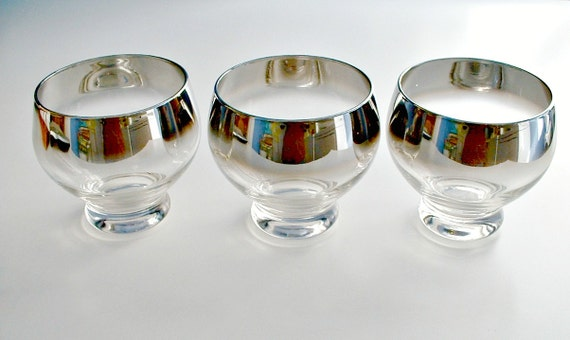 Silver Fade  Bar Glasses  Barware  Mid Century Modern Mad Men Set of 3