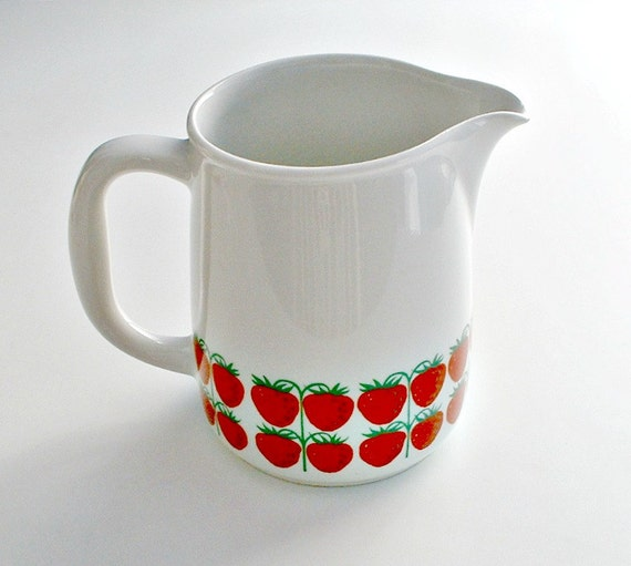 Vintage Arabia Finland Strawberry Pomona Pitcher  Kaj  Franck Mid Century Modern