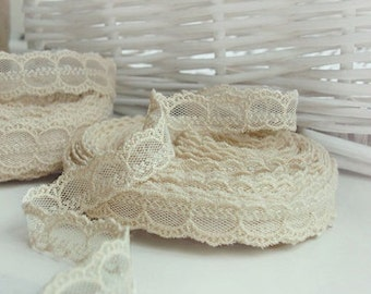 14yards embroidered mesh lace  (width 1.5cm)natural ivory 15232