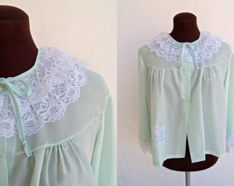 Vintage 60s 70s Bed Jacket Lingerie in Pastel Aqua Blue Green with White Lace Trim Size M  Like New