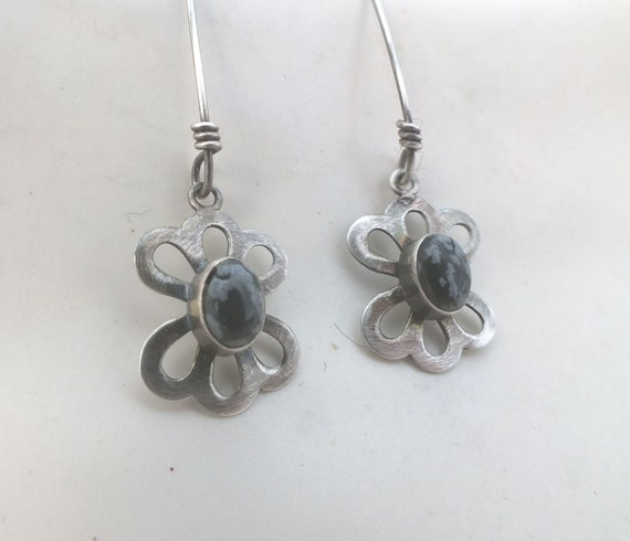 Sterling Silver and Black-White Snowflake Obsidian Dangle Earrings