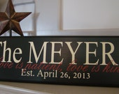Personalized-Customized Family Name & Established Date-Wedding-hand painted wood sign with vinyl lettering