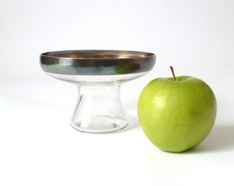 Vintage Silver Rim Glass Bowl ... Compote, Footed Dish, Silver Band, Mad Men, Hollywood Regency Candy Dish, Dorothy Thorpe