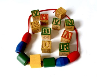 Vintage Wood Children's Blocks ... Wood Blocks, Alphabet Blocks, Picture Blocks, Set of 10, Blue Yellow Red Green, Large Wood Beads, Rainbow
