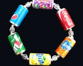 Kitsch Multi-Coloured Drink Can Bracelet with Coca Cola Fanta 7up Sunkist Pepsi Vimto