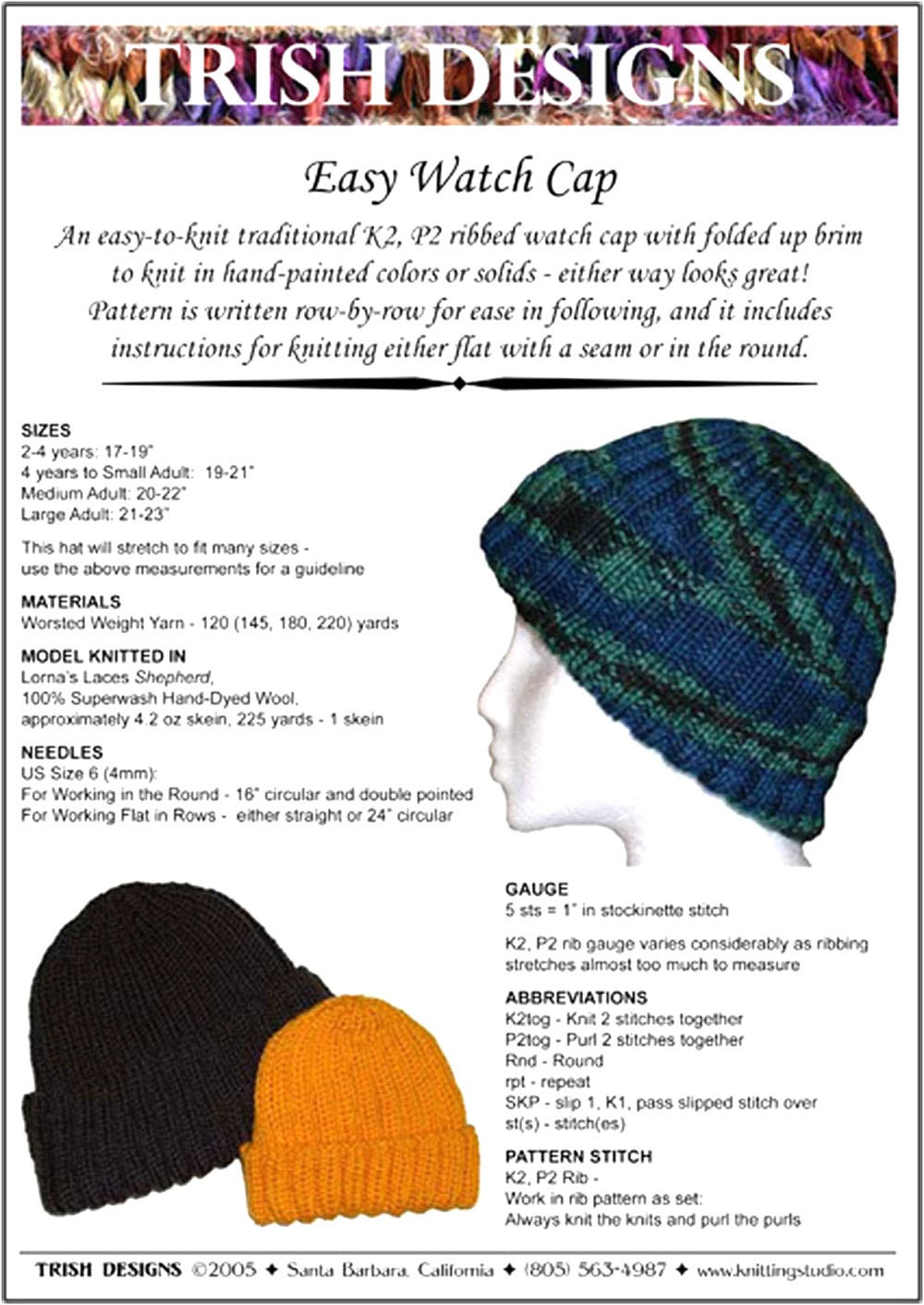 Hand Knit Pattern Watch Cap Knitting Pattern PDF Baby thru