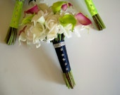 Real Touch Roses and Calla Lily Bouquet,  Grand Lily and Rose Bridal Bouquet, Wedding Flower Package, Silk Flower Bouquets